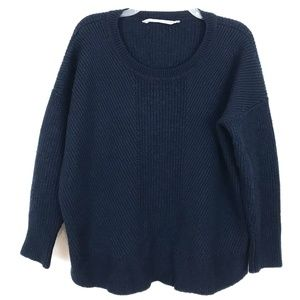 Athleta chunky sweater pullover Merino Wool navy